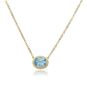 14KG 8X6 OVAL BLUE TOPAZ 18-19″ CHAIN picture