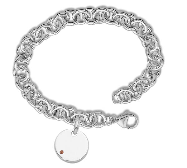 Heavy Cable Bracelet With Round Tag & Birth Stone picture