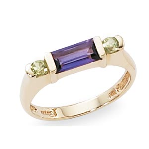 14KY 2-3MM RD & 8X4 BAG-AMETHYST & PERIDOT picture