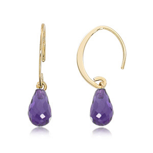 Mini Amethyst Hoops image: 14KY MINI SIMPLE SWEEP AMETHYST