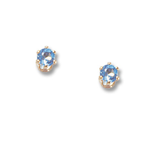 Blue Topaz Birthstone Baby Screw Back Studs picture