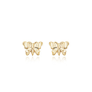 Embossed Butterfly Studs image: 14KG EMBOSSED BUTTERFLY