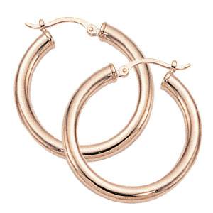 Medium Tube Hoops image: 14KRG 3X25MM SD TUBE