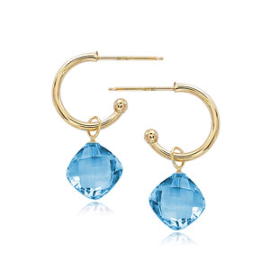 Small Hoop With Drop image: 14KG 1.5X12MM W/8MM BLUE TOPAZ