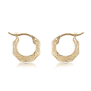 Extra Small Embossed Diamond Cut Hoops image: 14KG EMBOSSED DIA-CUT HP