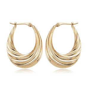 Medium Deep Swirl Hoops image: 14KG MED DEEP SWIRLS S/D