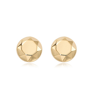 Faceted Dome Earrings image: 14KG FACETED DOME