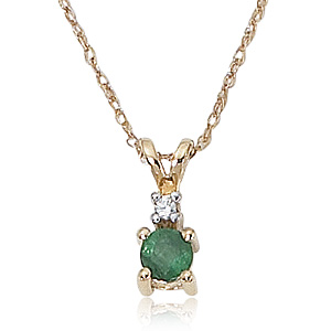 "Emerald & Diamond on 18"" Chain image: 14KG 4MM EMERALD/2PT DIA"
