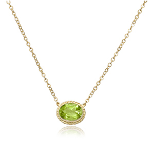 14KG 8X6 OVAL PERIDOT 18-19″ CHAIN picture