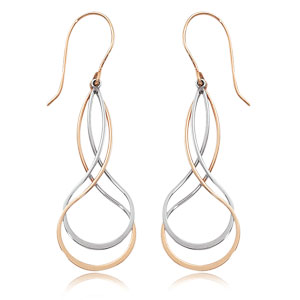 Double Twisting Pear shape Drops (L & R) image: 14KRG-TT DBL. TWISTING PEARSHAPE