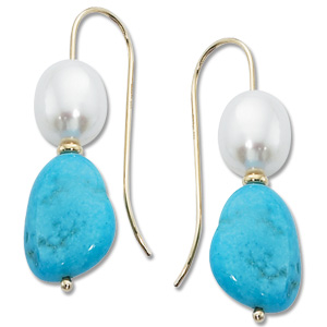 Turquoise & Pearl Drops image: 14KY TURQUOISE & PEARL DROP
