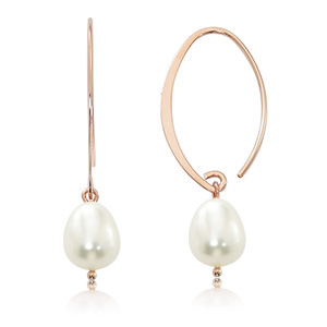 Pearl Hoops image: 14KR SMALL SIMPLE SWEEP FWP
