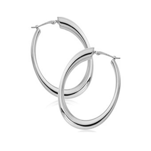 Small Sculpted Oval Hoop image: 14KWG SM OVAL SNAPDOWN