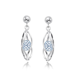 Cage Earrings with Blue Topaz image: SS BALL TOP CAGE-B.TPZ