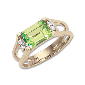 Peridot & Diamond Ring image: 14KY 8X6 OCT PERIDOT W/4-.015 DIAS