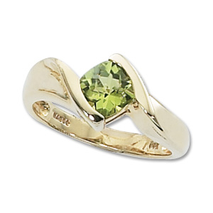 Checkerboard Peridot Ring image: 14KY 6MM CUSH CKBD-PERIDOT