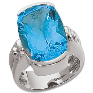 Checkerboard Blue Topaz Ring image: 14KW 16X12 CUSH CKBD SWISS BT