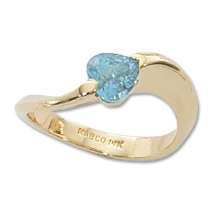 Heart Blue Topaz Ring image: 14KY 6MM HS SWISS BT