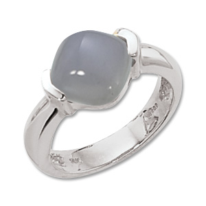 Cabochon Blue Chalcedony Ring picture