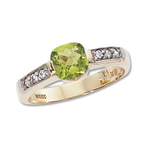 Cushion Peridot & Diamond Ring image: 14KY 6MM CUSH & 6-.02 DIA-PERIDOT