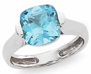 Blue Topaz Cushion Ring image: 14KW 9MM FAC CUSHION BLUE TOPAZ