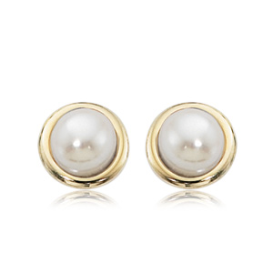 Framed Button Pearl Stud Earrings image: 14KY BUTTON PEARL