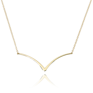 "14KG CURVED EDGE ""V"" NECKLACE image"