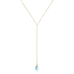 14KY BLUE TOPAZ DROP Y-NECKLACE 26IN image